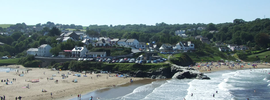 View across Aberporth beaches on a busy summers day